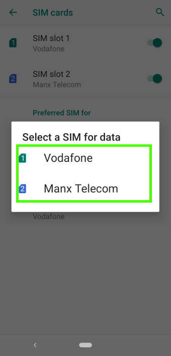 set default SIM card for mobile data